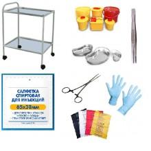 Столик со стеклянной крышкой и набором прививочного инструментария